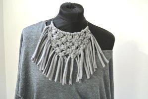 Necklace grey textile fiber