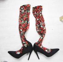Laarzen met hak zwart-rood