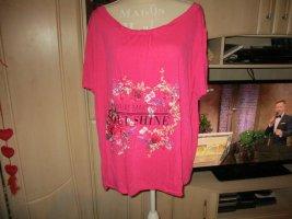 neu,t-shirt,pink.blumenmuster,grösse 50,von janina,glitzer,steinchen,spruch