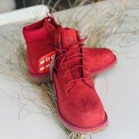❤️ Neu!!! Timberland Premium Waterproof Stiefel Stiefeletten Boots rot NP 219,-€ Primaloft