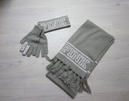 Pink Victoria's Secret Guantes con dedos blanco-gris