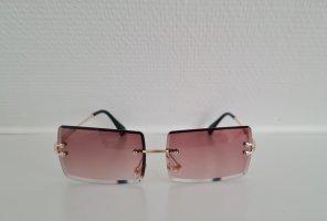 Vintage Kwadratowe okulary przeciwsłoneczne brąz-złoto