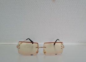 Kwadratowe okulary przeciwsłoneczne złoto-jasnożółty
