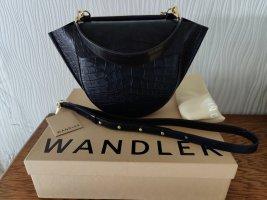 NEU WANDLER Hortensia Croc Medium Bag Navy Blau Handtasche Leder