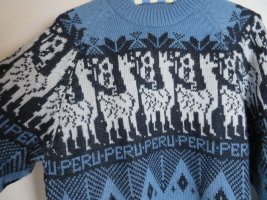 peruvian alpaca collection Pull norvégien bleu acier-bleu laine alpaga