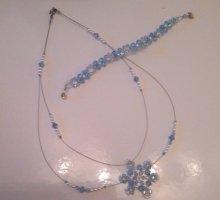 NEU!wunderschöne Kette/Halskette aus Acrylperlen+dazugehöriges Armband-UNIKAT