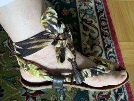 Sandalo infradito con tacco alto multicolore Pelle