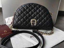 Neue Aigner Leder Tasche gesteppt schwarz mit Etikett NP 349€