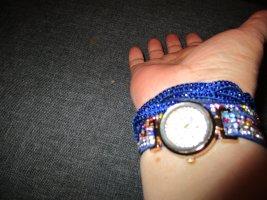 neue armbanduhr,blau / bunt,glitzer,steinchen,bänder,geflochten