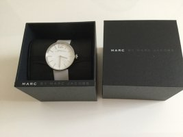 Marc Jacobs Reloj con pulsera de cuero blanco-color plata Cuero