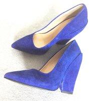 Neue blaue (blitzblaue) Lederschuhe, Pumps mit Keil, Highheels, Gr. 38 (spanisch), eher kleiner geschnitten