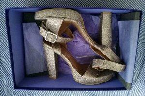 Neue Gold Glitter High Heel Sandalette Blockabsatz 37