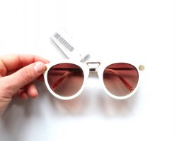 Neue H&M Sonnenbrille weiß beige braun gold