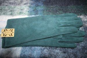 markenlos Guanto in pelle petrolio-verde scuro Pelle
