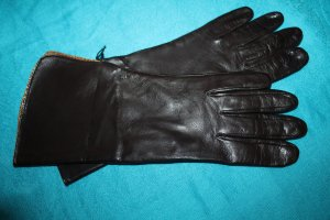 Roeckl Gloves dark brown-gold-colored leather