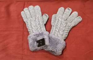 0039 Italy Padded Gloves light grey-grey wool