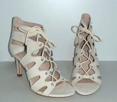 Neue High Heels beige Gr. 35 Sandalette stiletto Schnürsandalette