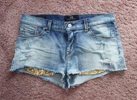 LTB Hot pants goud-neon blauw
