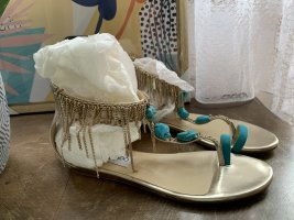 Jimmy Choo Toe-Post sandals gold-colored-turquoise