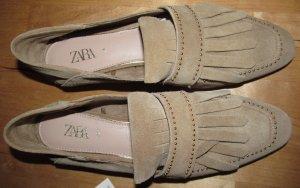 Zara Moccasins camel leather