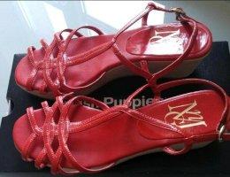 MNG Sandały klinowe na obcasie czerwony