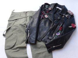 Neue Neil Barrett Cargo/Biker Designer Hose tiefschritt 38 grau/grün