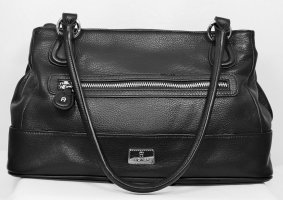 Aigner Carry Bag black-silver-colored leather