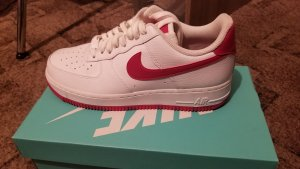 nike air force 1 High top sneaker wit-rood