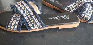 Ella Cruz Sabot ciemnoniebieski Tkanina z mieszanych włókien