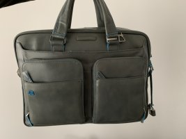 Piquadro Laptop bag light grey leather
