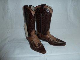 Buty w stylu western brązowy-czarno-brązowy Skóra