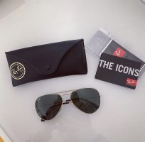 Ray Ban Aviator Glasses dark green-gold-colored