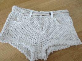 NEUE Replay Hotpants, beige, Gr. 27/S 36, grober Strick, sexy, mit Gürtel, Etikett