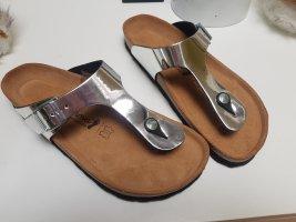 Bonova Flip flop sandalen lichtgrijs Leer