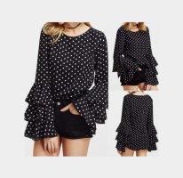 Neue schwarze Damen - Bluse Gr. 42 mit Rüschenärmel