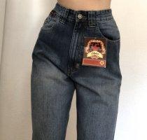 Jeans a vita alta blu scuro