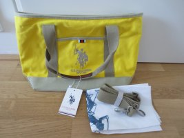 NEUE U.S. Polo Assn. Stofftasche, Shopper, mit Reissverschluss, Fächer innen, Gelb, mit Etikett