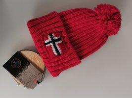 Neue ungetragene Napapijri Mütze rot mit Etikett