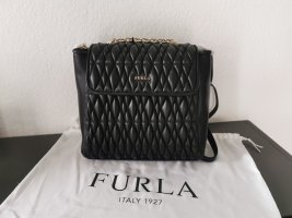 Neuer Furla Leder Rucksack schwarz gesteppt mit Etikett NP 350€