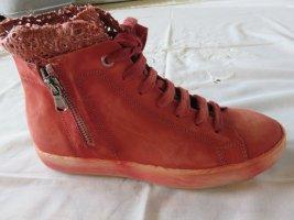 Basket montante rouge brique cuir
