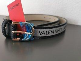 Mario Valentino Faux Leather Belt black-grey
