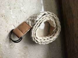 Cinturón de tela blanco-marrón
