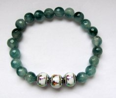 handmade unikat Bracciale di perle verde-bianco
