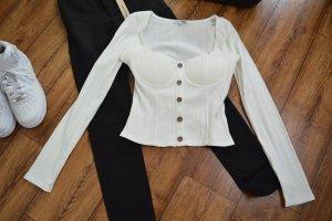 Neues Langarm Cropped Shirt 38 Fashion Nova weiss