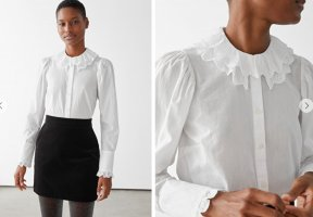 & other stories Lace Blouse white cotton