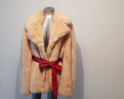 Stella McCartney Płaszcz ze sztucznym futrem nude-brzoskwiniowy