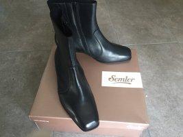 Neuw. 38,5  = 5  = 7 ½ SEMLER Stiefeletten Stiefel schwarz echt Leder