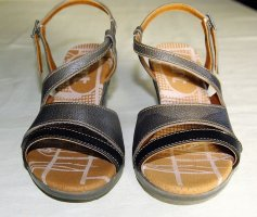 Art Strapped Sandals silver-colored-grey brown