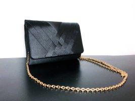Neuwertig Tasche Abendtasche Clutch Handtasche Umhängetasche gold schwarz Satin Optik