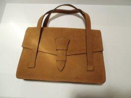 neuwertige Vintage-Echtleder Tasche zimtbraun Veloursleder gefütt.